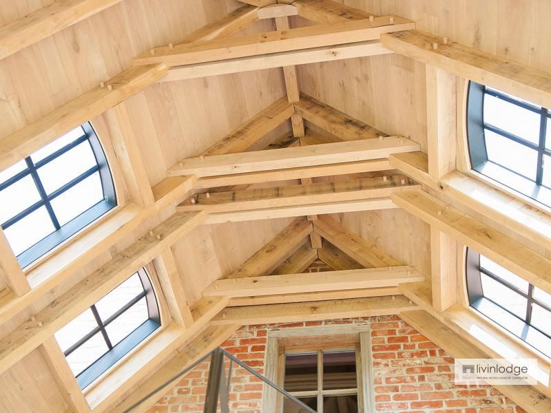 Classic oak patio cover in harmony with main house waasland